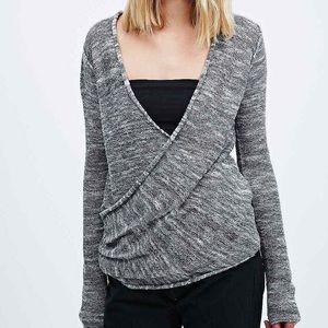 Free People Gotham Wrap Linen Sweater Grey Size L